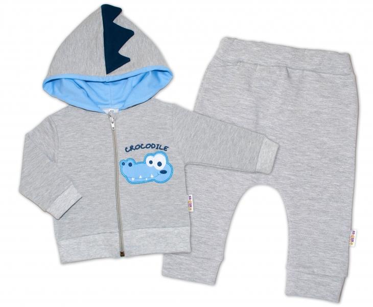 Baby Nellys Tepláková súprava s kapucňou, Crocodiles - sivá, modrá, veľ. 74