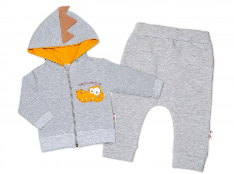 Baby Nellys Tepláková súprava s kapucňou, Crocodiles - sivá,horčicová, veľ. 74-#Velikost koj. oblečení;74 (6-9m)