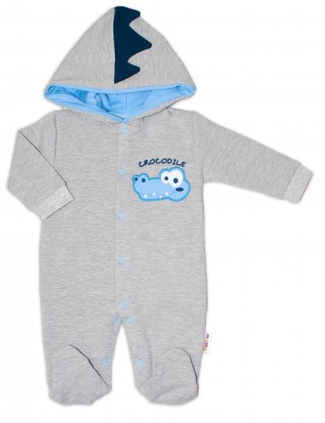 Baby Nellys teplákový overal Crocodiles - šedá, modrá, vel. 86