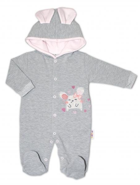Baby Nellys Teplákový overal Mouse Love - šedá, veľ. 86-#Velikost koj. oblečení;86 (12-18m)