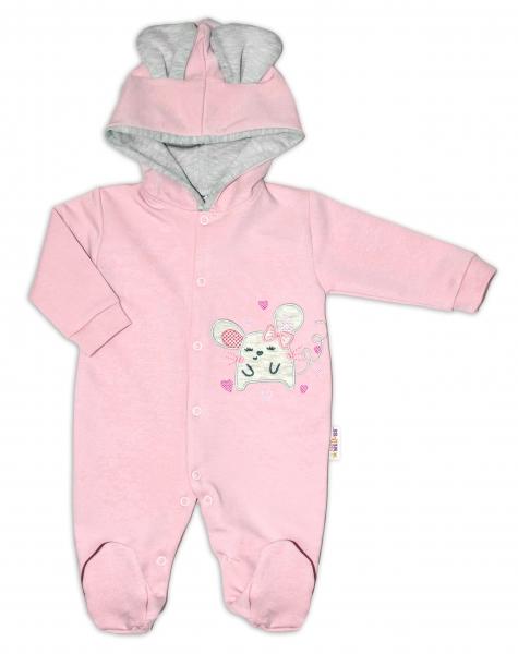Baby Nellys Teplákový overal Mouse Love - púdrovo ružová, veľ. 86-#Velikost koj. oblečení;86 (12-18m)