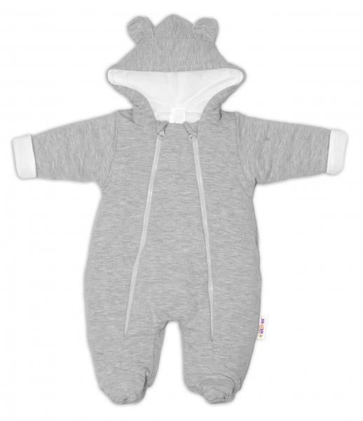 Baby Nellys ® Kombinézka s dvojitým zapínaním, s kapucňou a uškami, sv. sivá, vel. 74