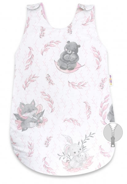Spací vak Baby Nellys, LULU natural, 70 cm - rúžový
