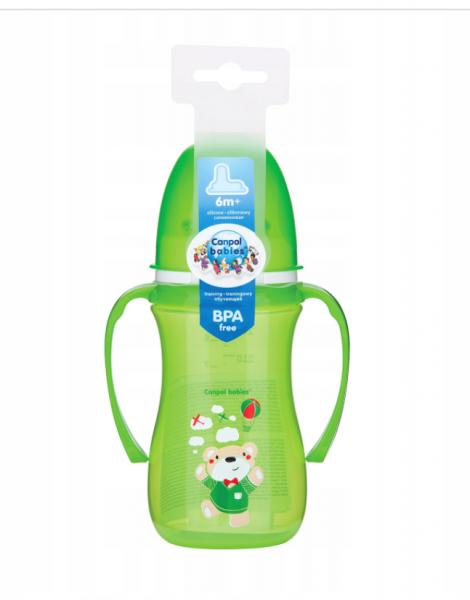 Canpol babies Nevylévací hrnček 240ml,  EasyStart - Medvedík - zelený