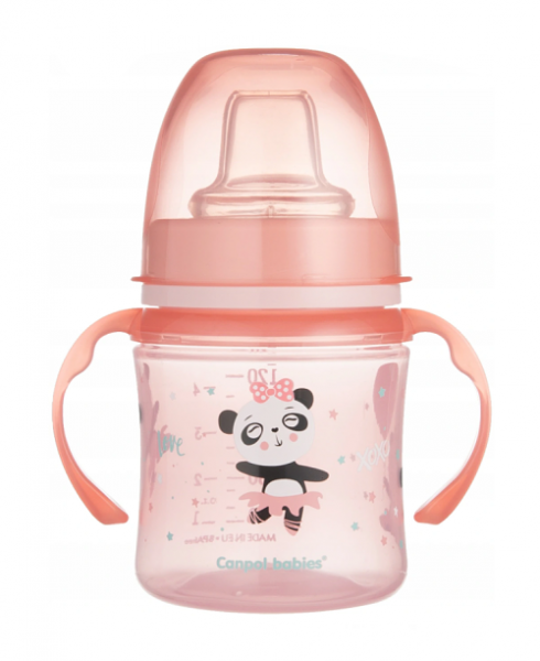 Canpol babies Nevylévací hrnček 120ml, EasyStart - Panda - ružový