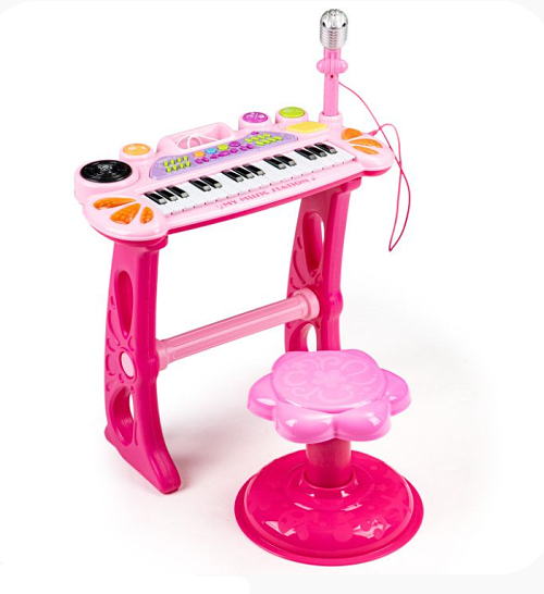 Eco Toys Klávesové organ s mikrofónom mp3 - ružové