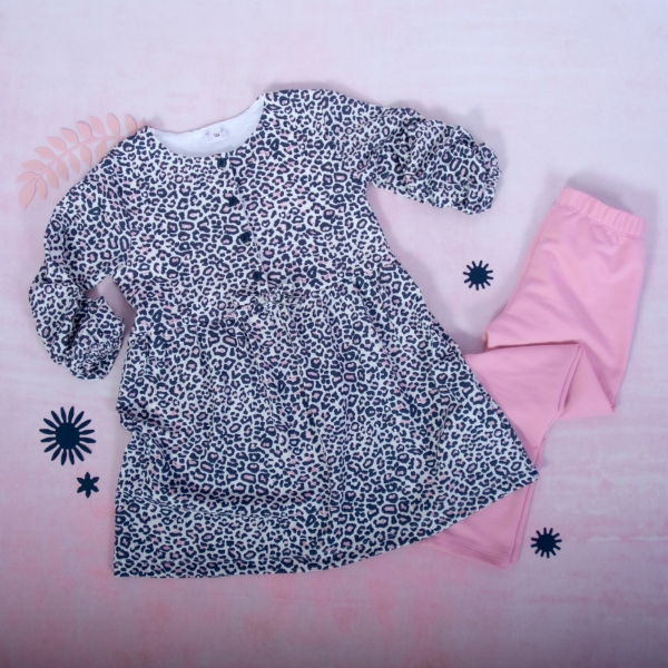 K-Baby 2 dielna sada - šaty + legíny, Gepardík, veľ. 74-#Velikost koj. oblečení;74 (6-9m)