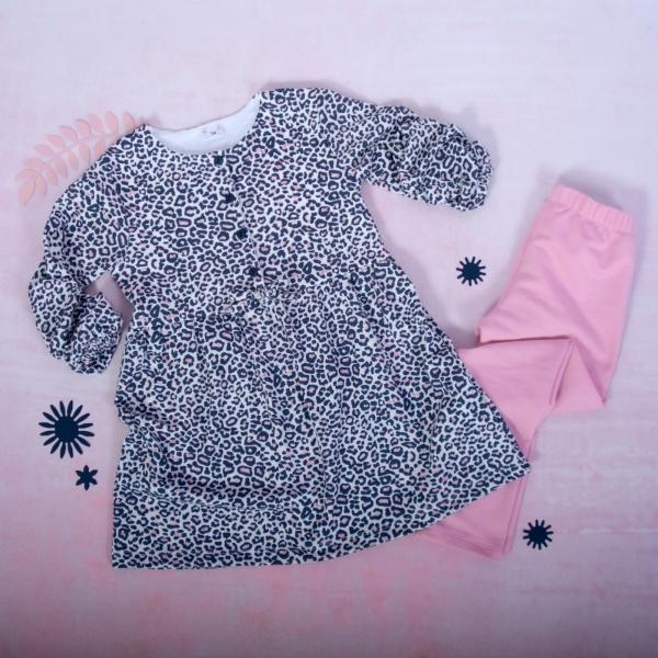 K-Baby 2 dielna sada - šaty + legíny, Gepardík, veľ. 80-#Velikost koj. oblečení;80 (9-12m)