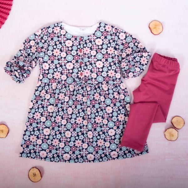 K-Baby 2 dielna sada - šaty + legíny, Kvietky, veľ. 80-#Velikost koj. oblečení;80 (9-12m)