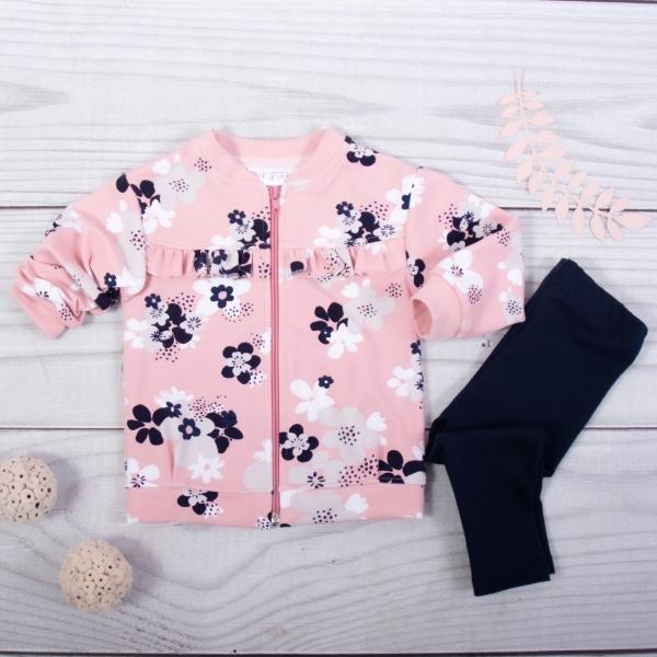 K-Baby 2-sada mikina + legíny, ružová / čierna, veľ. 80