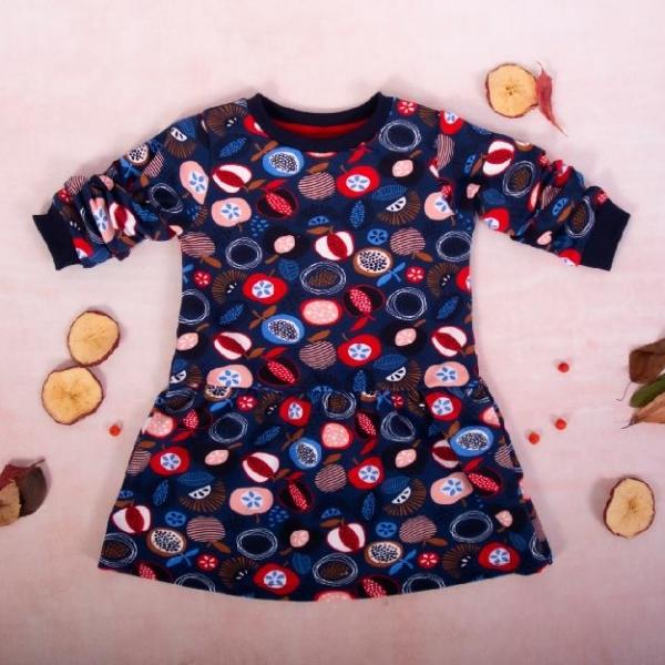 Dievčenské bavlnené šaty, Ovocie - granátové, veľ. 104
