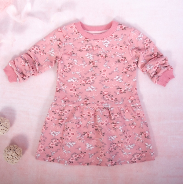 K-Baby Dievčenské bavlnené šaty, Kvietky - púdrovo ružová, veľ. 74-#Velikost koj. oblečení;74 (6-9m)