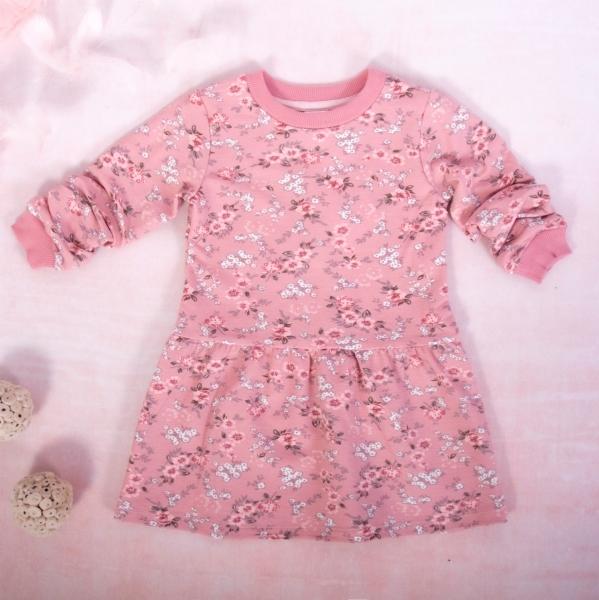 Dievčenské bavlnené šaty, Kvietky - púdrovo ružová, veľ. 104