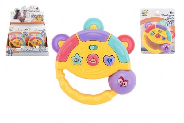 Tamburínka baby plast 12cm 2 farieb na batérie so svetlom so zvukom