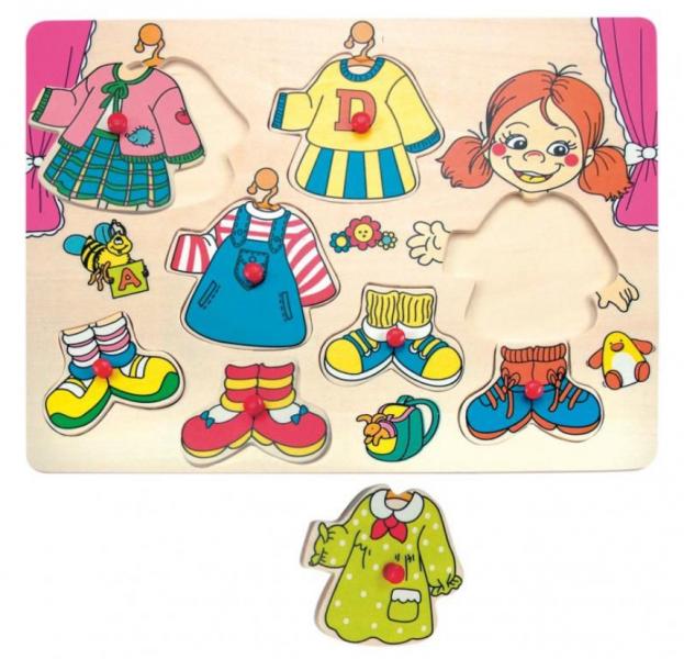 Woody Vkladacie - obliekacie puzzle dievčatko Karolína - 8 ks