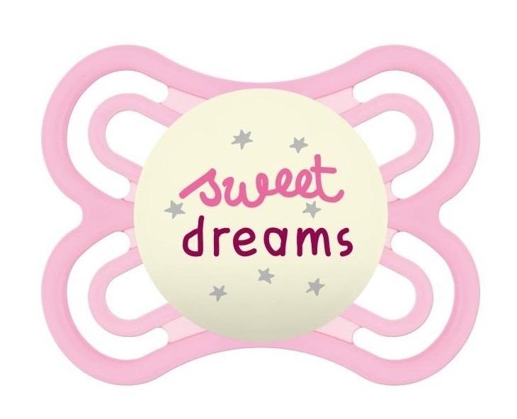 MAM Symetrický cumlík Perfect Night Girl, svietiace - Sweet dreams, ružová, 0m +