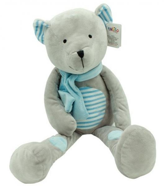 Plyšová hračka túlil Medvedík Erik, 19 cm - modrý s prúžkami