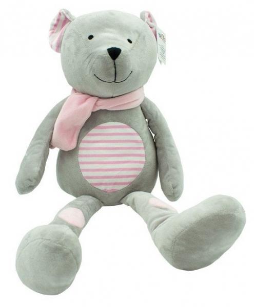 Plyšová hračka túlil Medvedík Erik, 19 cm - růžový s prúžkami