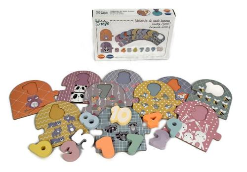Adam Toys Náučné drevené puzzle - počítanie