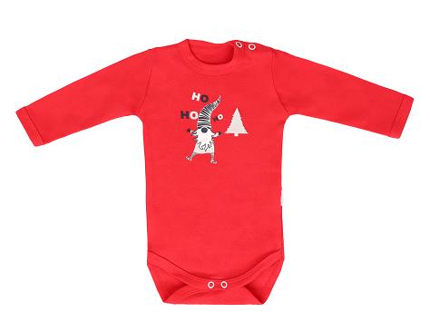Mamatti Detské body Christmas Ho, ho, ho - červená, veľ. 86