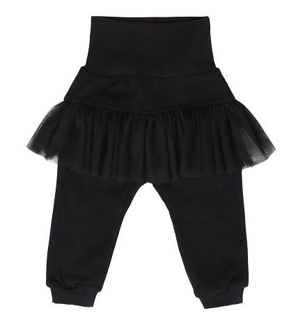 Mamatti Dojčenské tepláčky s volánikom - čierne, veľ 56