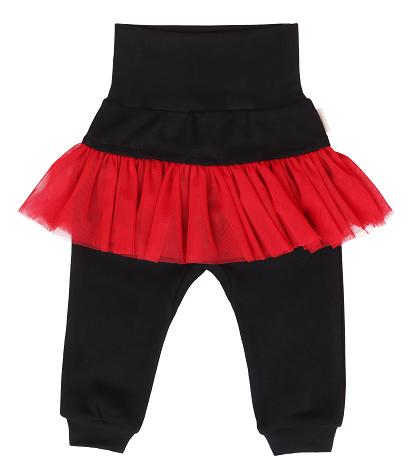 Mamatti Detské tepláčky s červeným volánikom - čierne, veľ. 86