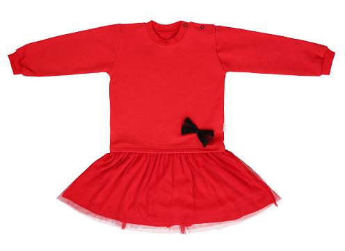 Mamatti Detské šaty s tylom - červené, veľ. 80-#Velikost koj. oblečení;80 (9-12m)