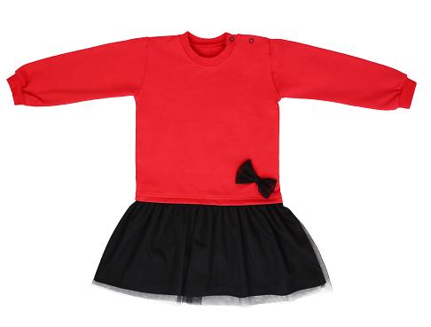 Mamatti Detské šaty s tylom, červeno-čierne, veľ. 86-#Velikost koj. oblečení;86 (12-18m)