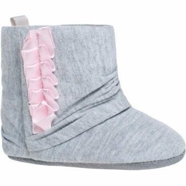 Detské capačky / topánočky BOBO BABY, sivá s ružovou, vel. 6/12m