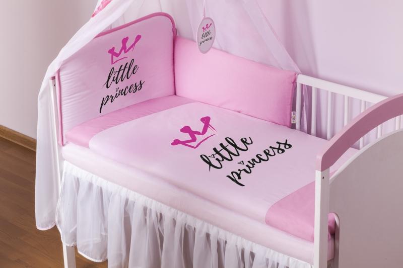 Baby Nellys Mantinel 180cm s obliečkami Little Princess - růžový, roz. 135x100cm