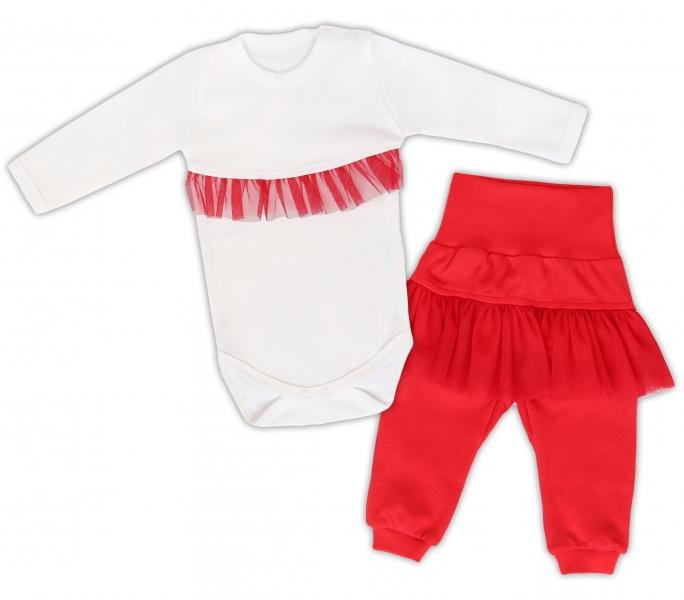 Mamatti 2 dielna sada Body dl. rukáv s tutu volánkem, tepláčky s tutu, biele, červena