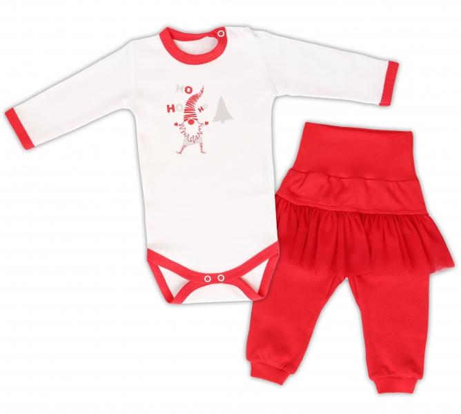 Mamatti 2 dielna sada Body dl. rukáv Ho, ho, ho, tepláčky s tutu, biele, červena, veľ. 86-#Velikost koj. oblečení;86 (12-18m)