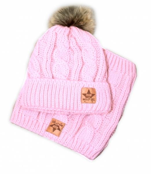BABY NELLYS Zimná pletená čiapka s brmbolcom + komín, svetlo ružová - veľ. 52-56cm
