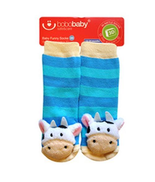 BOBO BABY Detské protišmykové ponožky 3D s hrkálkou - Kravička, sv. modrá-#Velikost koj. oblečení;12/24měsíců
