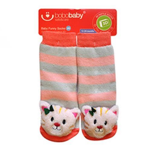 BOBO BABY Detské protišmykové ponožky 3D s hrkálkou - Mačička, marhulová-#Velikost koj. oblečení;12/24měsíců
