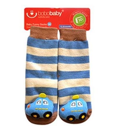 BOBO BABY Detské protišmykové ponožky 3D s hrkálkou - Autíčko, modrá, veľ. 12-24 m