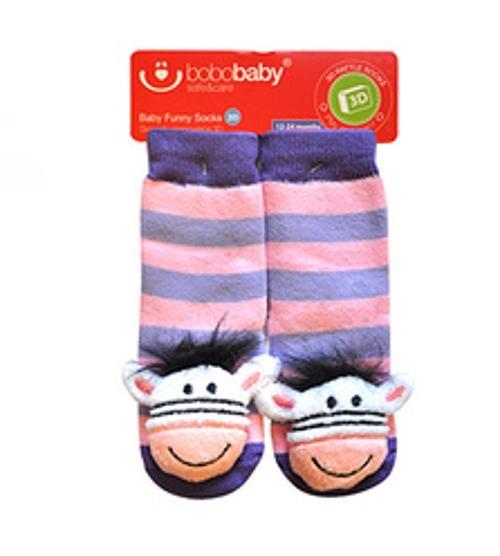 BOBO BABY Detské protišmykové ponožky 3D s hrkálkou - Zebra, fialová-#Velikost koj. oblečení;12/24měsíců