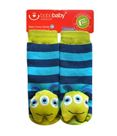 BOBO BABY Detské protišmykové ponožky 3D s hrkálkou - Príšerka, tyrkysová-#Velikost koj. oblečení;12/24měsíců