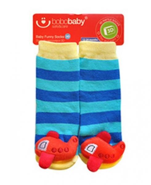 BOBO BABY Detské protišmykové ponožky 3D s hrkálkou - Letadlo, modrá-#Velikost koj. oblečení;12/24měsíců