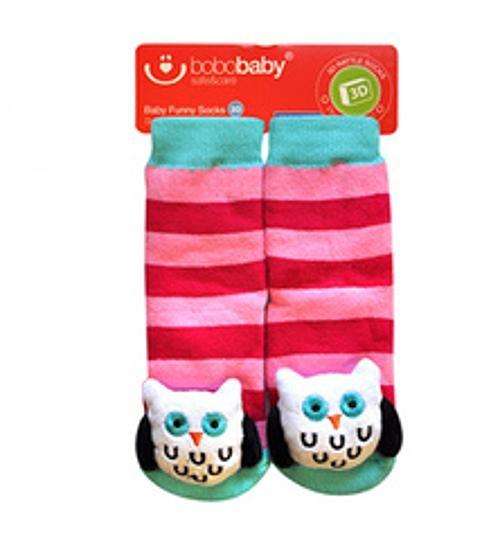 Detské protišmykové ponožky 3D s hrkálkou - Sovička, ružová, 12-24 mes