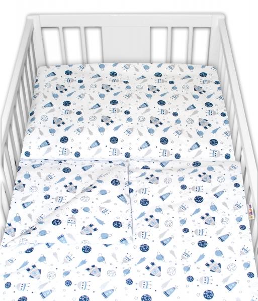 Baby Nellys 2 - dielne bavlnené obliečky - Vesmír, biele, 120x90 cm