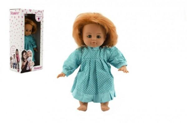 Bábika / Bábätko Hamiro žmurkacia 35cm, látkové telo šaty modré + biely puntík v krabici 2