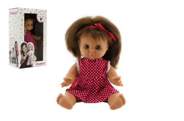 Bábika/Bábätko Hamiro 30cm, pevné telo, šaty červené biele s bodkami v krabici 20x35x13cm