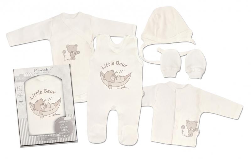 Mamatti Novorodenecká súprava do pôrodnice, ekri - Medvedík-#Velikost koj. oblečení;50 (0-1m)
