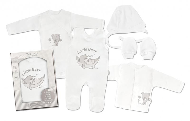 Mamatti Novorodenecká súprava do pôrodnice, biela - Medvedík,-#Velikost koj. oblečení;50 (0-1m)