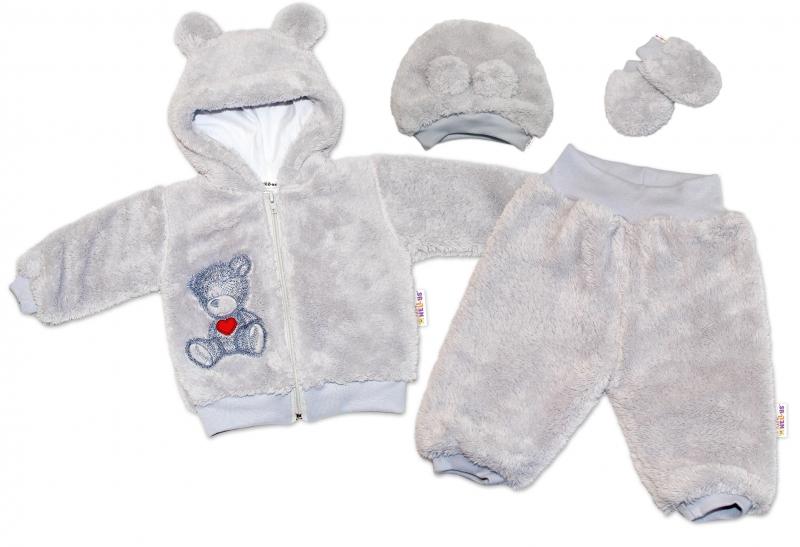 Baby Nellys Chlupáčkový komplet Welsoft Teddy vel. 80 - sivá-#Velikost koj. oblečení;80 (9-12m)