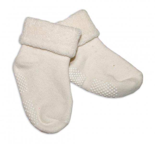Dojčenské ponožky 12-18 m, Risocks protišmykové - smotanové