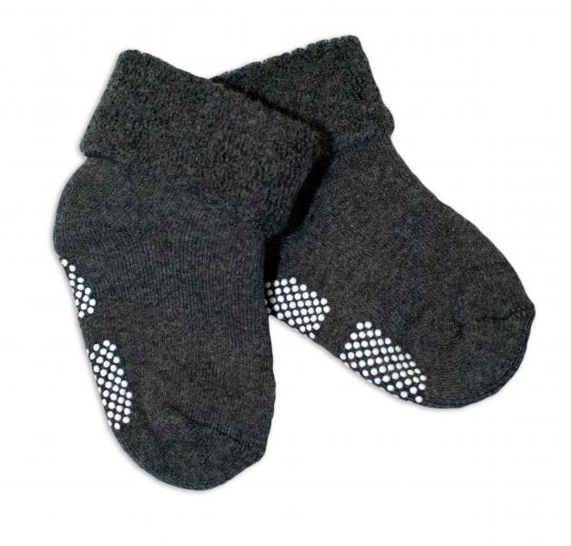 Dojčenské ponožky 12-18 m, Risocks protišmykové - grafitové