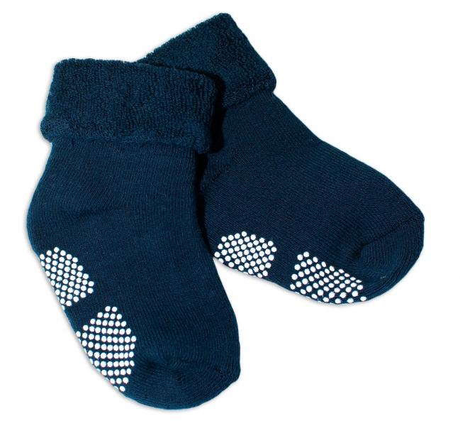Dojčenské froté ponožky, 12-18 m, Risocks, protišmykové - tm. modré