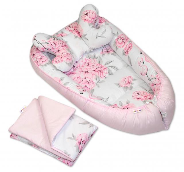 Sada komplet, obojstranné hniezdočko Baby Nellys , 55 x 85 cm, Plameniak ružový
